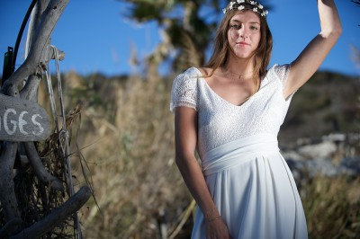 web wedding dress and palm tree